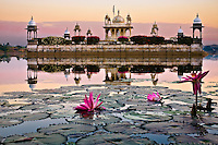 Early morning light illuminates a lake temple with lilies floating in the foreground. (Photo by Matt Considine - Images of Asia Collection)
