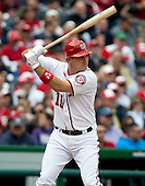 Washington Nationals third baseman Ryan Zimmerman (11) bats in the fourth inning against the Cincinnati Reds at Nationals Park in Washington, D.C. on Thursday, April 12, 2012.  The Nationals won the game in 10 innings 3 - 2..Credit: Ron Sachs / CNP