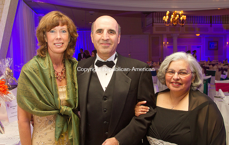 SOUTHINGTON, CT- 02 FEBRUARY 2013 020213JW05 - Kathy Luria, Vice President Community Affairs Webster Bank , Selim Noujaim R-74th and his wife Linda Noujaim pose for a photo during the Cirque Mystique, Saint Mary's Hospital Foundation Gala 2013 Saturday evening at the Aqua Turf Club..Jonathan Wilcox Republican American..