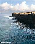 South Point of the Big Island.<br /> The rough currents of the open ocean have carved the lava coastline into rugged cliffs.