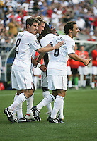 Stuart Holden (2nd from left) celebrates his goal with teammates. USA defeated Grenada 4-0 during the First Round of the 2009 CONCACAF Gold Cup at Qwest Field in Seattle, Washington on July 4, 2009.