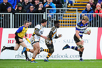 David Denton of Bath Rugby goes on the attack. Aviva Premiership match, between Bath Rugby and Wasps on March 4, 2017 at the Recreation Ground in Bath, England. Photo by: Patrick Khachfe / Onside Images