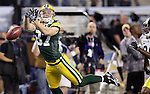 Green Bay Packers' Jordy Nelson can't hang on to a Aaron Rodgers pass on 3rd down and 7-yards to go. .The Green Bay Packers played the Pittsburgh Steelers in Super Bowl XLV,  Sunday February 6, 2011 in Cowboys Stadium. Steve Apps-State Journal.