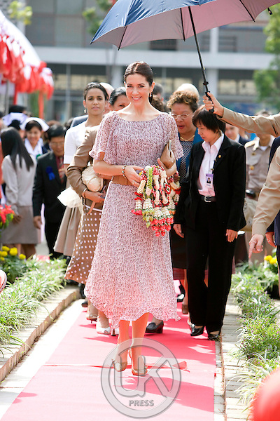 """Crown Prince Frederik & Crown Princess Mary of Denmark, on a Four Day official visit to Thailand, Crown Princess Mary visits """" Wat Chinna Wararan School in Pathum Thani Province, near Bangkok, Thailand"""