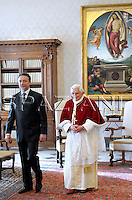 Macedonia's President Branko Crvenkovski, left, shakes hands with Pope Benedict XVI during a private audience in the pontiff's studio at the Vatican, Friday, Jan. 23, 2009.