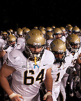Pitt's team takes the field. The WVU Mountaineers defeated the Pittsburgh  Panthers 19-16 on November27, 2009 at Mountaineer Field at Milan Puskar Stadium, Morgantown, West Virginia.