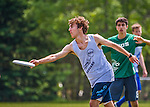 30 May 2015: The Vermont Commons School Flying Turtles play Mount Mansfield Union High School in a consolation round of the VYUL State Ultimate Disk Championships at Bombardier Park in Milton, Vermont. VCS defeated MMU to clinch 5th place overall in the State Championships. Mandatory Credit: Ed Wolfstein Photo *** RAW (NEF) Image File Available ***