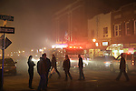 March 1, 2014 - Huntington, New York, U.S. - Fire rages in the heart of Huntington village, down the block from the famous Paramount Theater on New York Avenue. Firefighters came from many surrounding towns of Suffolk County, Long Island, and huge clouds of smoke lit up the night sky for blocks.