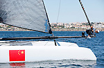 America's Cup World Series, fleet race practice in Cascais Portugal..China Team 1 against Aleph.