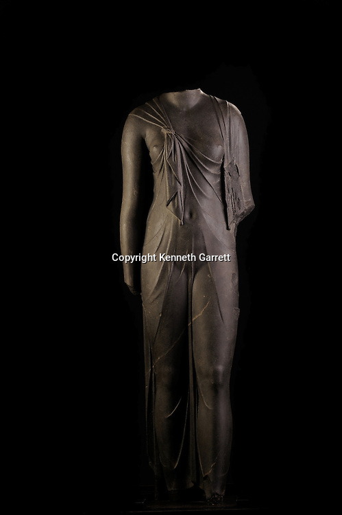 Cleopatra; The Search for the Last Queen of Egypt; Exhibit Catalog; page 179; Cleopatra Exhibit; Egypt; Alexandria Harbor, Statue of Queen, Grandiorite, Isis Knot in dress, 150 cm tall