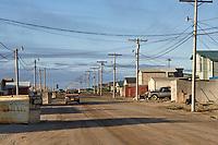Street view in the small coastal Alaska village of Utqiagvik (Barrow).