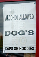 Anti-social behaviour sign outside an Amusement Arcade - June 2014.