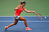 NEW YORK, USA - SEPT 10, Angelique Kerber of Germany returns a shot against Karolina Pliskova of Czech Republic during their Women's Singles Final Match of the 2016 US Open at the USTA Billie Jean King National Tennis Center on September 10, 2016 in New York.  photo by VIEWpress