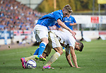 St Johnstone v FC Luzern...24.07.14  Europa League 2nd Round Qualifier<br /> David Wotherspoon battles with Remo Freuler<br /> Picture by Graeme Hart.<br /> Copyright Perthshire Picture Agency<br /> Tel: 01738 623350  Mobile: 07990 594431