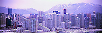 Vancouver, BC, British Columbia, Canada - City Skyline from False Creek, Yaletown Highrise Buildings, North Shore Mountains (Coast Mountains), Winter - Panoramic View