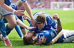 St Johnstone v Aberdeen...13.04.14    William Hill Scottish Cup Semi-Final, Ibrox<br /> Stevie May is mobbed by his team mates after scoring his first goal<br /> Picture by Graeme Hart.<br /> Copyright Perthshire Picture Agency<br /> Tel: 01738 623350  Mobile: 07990 594431