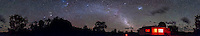 A 360&deg; panorama of the southern sky, early evening, in late December 2012, from Timor Cottage, near Coonabarabran, NSW, Australia. Taurus, the Pleiades, Jupiter and Orion are left of centre over Timor Rock, the Milky Way extends from there to the right down toward the cottage, the Large Magellanic Clouds is right of centre over the cottage (the Small Cloud is behind cloud). .This is an 8-section panorama taken with the Canon 60Da and 10-22mm lens at 10mm, at f/3.5 for 1 minute each at ISO 3200. Stitched with Photoshop CS6.