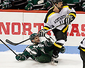 Matt Aponte (PSU - 14), Kevin Crowe (WIT - 11) - The visiting Plymouth State University Panthers defeated the Wentworth Institute of Technology Leopards 2-1 on Monday, November 19, 2012, at Matthews Arena in Boston, Massachusetts.
