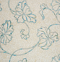 Folia, a hand-cut mosaic, shown in Quartz and Aquamarine Sea Glass™, is part of the Sea Glass™ Collection by Sara Baldwin for New Ravenna.