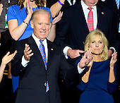 United States Vice President Joe Biden acknowledges the cheers of the crowd after being named as his party's nominee for re-election at the 2012 Democratic National Convention in Charlotte, North Carolina on Thursday, September 6, 2012.  Dr. Jill Biden is at right..Credit: Ron Sachs / CNP.(RESTRICTION: NO New York or New Jersey Newspapers or newspapers within a 75 mile radius of New York City)