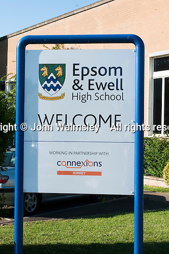 Welcoming sign, state secondary school.