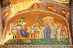 The 11th century Roman Byzantine Church of the Holy Saviour in Chora and its mosaic of Joseph and Mary and the enrollment for the census for taxation (panel A-2). Endowed between 1315-1321  by the powerful Byzantine statesman and humanist Theodore Metochites. Kariye Museum, Istanbul