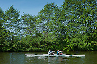 Rowing skiff on the River Thames in Berkshire, UK