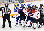 Henrich Jabornik (Slovakia - 4), Patrice Cormier (Canada - 28), ?, Gabriel Bourque (Canada - 7) - Team Canada defeated Team Slovakia 8-2 on Tuesday, December 29, 2009, at the Credit Union Centre in Saskatoon, Saskatchewan, during the 2010 World Juniors tournament.