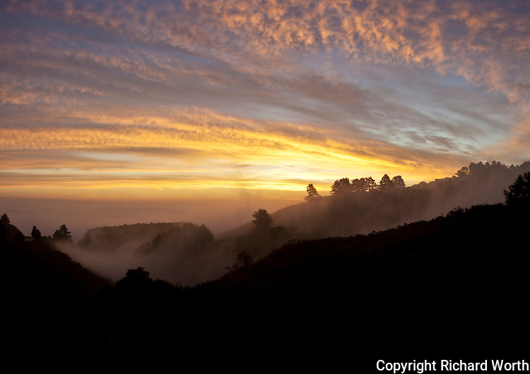 Sunrise over the Crystal Springs Reservoir from the Santa Cruz Mountains.