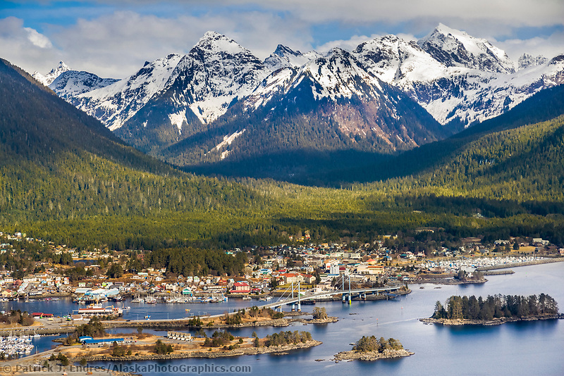 Aerial of downtown Sitka, a coastal community in Southeast, Alaska, located on Baranof Island.