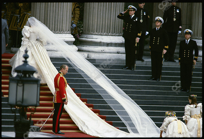 Lady Diana Spencer walks up the steps of St. Paul's Cathedral, the site of her wedding to Prince Charles. London, England, July 29, 1981.