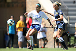 09 September 2012: Duke's Laura Weinberg (16) and Marquete's Katie Hishmeh (8). The Duke University Blue Devils defeated the Marquette University Golden Eagles 5-2 at Koskinen Stadium in Durham, North Carolina in a 2012 NCAA Division I Women's Soccer game.
