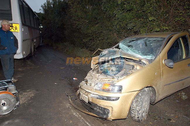 the remains of the Fiat Punt that was involved in a collision with a Bus Eireann Scoil Bus carrying 12 Students from Schools in Drogheda..Picture Fran Caffrey Newsfile.Copy Elaine Keogh..This Picture is sent to you by:..Newsfile Ltd.The View, Millmount Abbey, Drogheda, Co Louth, Ireland..Tel: +353419871240.Fax: +353419871260.GSM: +353862500958.ISDN: +353419871010.email: pictures@newsfile.ie.www.newsfile.ie