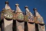 Chimney Pots on the Roof of Batllo House by Gaudi, Barcelona, Catalonia, Spain