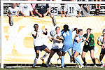 02 December 2012: UNC's Satara Murray (44) scores UNC's third goal over Penn State's Maya Hayes (5) and Christine Nairn (10). The University of North Carolina Tar Heels played the Penn State University Nittany Lions at Torero Stadium in San Diego, California in the 2012 NCAA Division I Women's Soccer College Cup championship game. UNC won the game 4-1.
