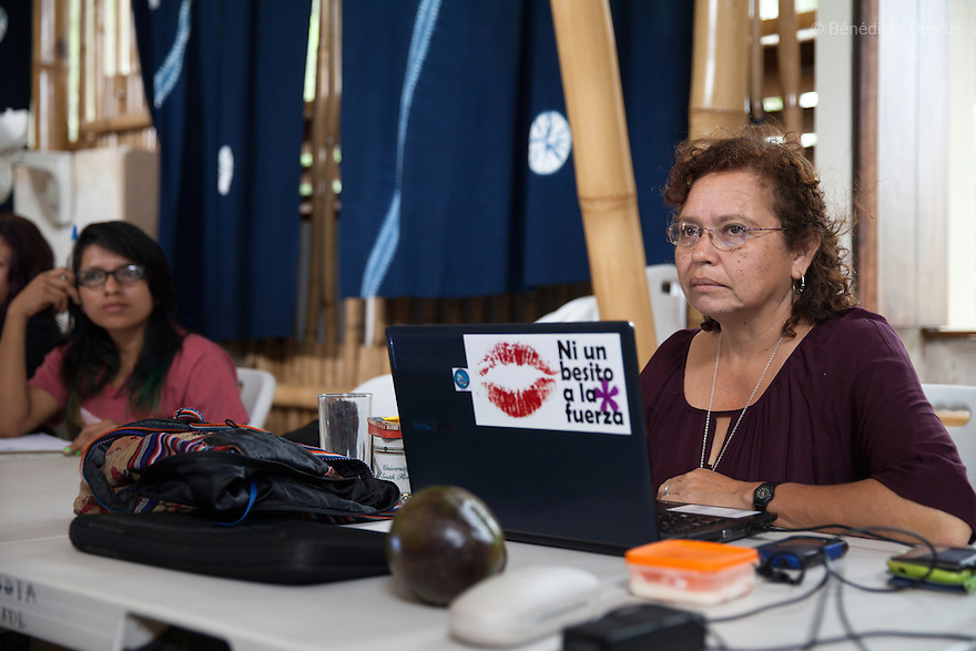 "Morena Herrera, a former Marxist guerrilla commander, now the Director of the San Salvador Feminist Collective and pro-abortion activist, during a meeting with women at ""La Casa de la Mujer"" in Suchitoto, El Salvador on June 8, 2015. Abortion in El Salvador is illegal. The law formerly permitted an abortion to be performed under some limited circumstances, but, in 1998, all exceptions were removed when a new abortion law went into effect. Photo by Bénédicte Desrus"