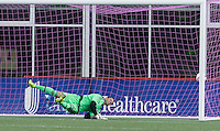 Montreal Impact scores. Foxborough, Massachusetts - October 17, 2015:  In a Major League Soccer (MLS) match, Montreal Impact (white) defeated the New England Revolution (blue/white), 1-0, at Gillette Stadium.