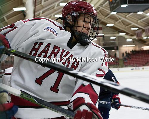 Frédéric Grégoire (Harvard - 71) - The Harvard University Crimson defeated the US National Team Development Program's Under-18 team 5-2 on Saturday, October 8, 2016, at the Bright-Landry Hockey Center in Boston, Massachusetts.
