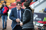 St Johnstone v Partick Thistle&hellip;29.10.16..  McDiarmid Park   SPFL<br />Tommy Wright and Alan Archibald shake hands before kick off<br />Picture by Graeme Hart.<br />Copyright Perthshire Picture Agency<br />Tel: 01738 623350  Mobile: 07990 594431