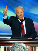 Boston, MA - July 29, 2004 -- Former United States Senator John Glenn (Democrat of Ohio)  speaks at the 2004 Democratic National Convention in Boston, Massachusetts. .Credit: Ron Sachs / CNP