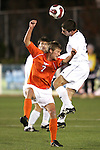 16 November 2007: Boston College's Jamie Melas (right) heads the ball over Virginia Tech's Stefan Hock (7). Boston College defeated Virginia Tech 3-1 at SAS Stadium in Cary, NC in an Atlantic Coast Conference Men's Soccer tournament semifinal.