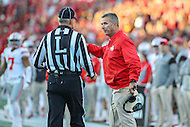 College Park, MD - November 12, 2016: Ohio State Buckeyes head coach Urban Meyer talks to the referee during game between Ohio St. and Maryland at  Capital One Field at Maryland Stadium in College Park, MD.  (Photo by Elliott Brown/Media Images International)