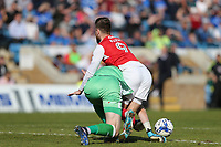 Fleetwood Town's Wes Burns is stopped in his tracks by Gillingham's Tomas Holy<br /> <br /> Photographer Rob Newell/CameraSport<br /> <br /> The EFL Sky Bet League One - Gillingham v Fleetwood Town - Saturday 22nd April 2017 - MEMS Priestfield Stadium - Gillingham<br /> <br /> World Copyright &not;&copy; 2017 CameraSport. All rights reserved. 43 Linden Ave. Countesthorpe. Leicester. England. LE8 5PG - Tel: +44 (0) 116 277 4147 - admin@camerasport.com - www.camerasport.com