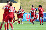 09 December 2012: Indiana's Nikita Kotlov (8) celebrates scoring the games only goal with teammates. The Georgetown University Hoyas played the Indiana University Hoosiers at Regions Park Stadium in Hoover, Alabama in the 2012 NCAA Division I Men's Soccer College Cup Final. Indiana won the game 1-0.