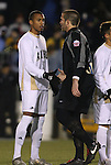 11 December 2009: Akron's Teal Bunbury (12) and UNC's Brooks Haggerty (right) shake hands before the game. The University of Akron Zips defeated the University of North Carolina Tar Heels 5-4 on penalty kicks after the game ended in a 0-0 overtime tie at WakeMed Soccer Stadium in Cary, North Carolina in an NCAA Division I Men's College Cup Semifinal game.