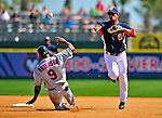 10 March 2009: Washington Nationals infielder Alberto Gonzalez doubles off Marlon Anderson during a Spring Training game against the New York Mets at Space Coast Stadium in Viera, Florida. The Nationals and Mets tied 5-5 in the 10-inning Grapefruit League matchup. Mandatory Photo Credit: Ed Wolfstein Photo