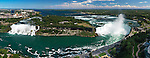 Panoramic aerial view on Niagara Falls from Canada side with American Falls on the left and Canadian Horseshoe on the right