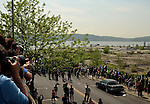 Residents of Sleepy Hollow and Tarrytown observe Marine One carrying President Obama landing on the grounds of  the abandoned General Motors Plant near the lighthouse in Tarrytown.