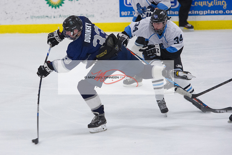 Eagle River's Logan Dudinsky gets a shot off in front of Chugiak's Cottle Macsen during the Mustang's 5-2 win at the McDonald Center Saturday, January 28, 2017. Photo for the Star by Michael Dinneen