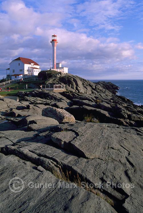 Cape Forchu Lightstation (built 1962) near Yarmouth, NS, Nova Scotia, Canada - Lighthouse / Light House on Volcanic Rock Coastline (Headland) - Yarmouth & Acadian Shores Region